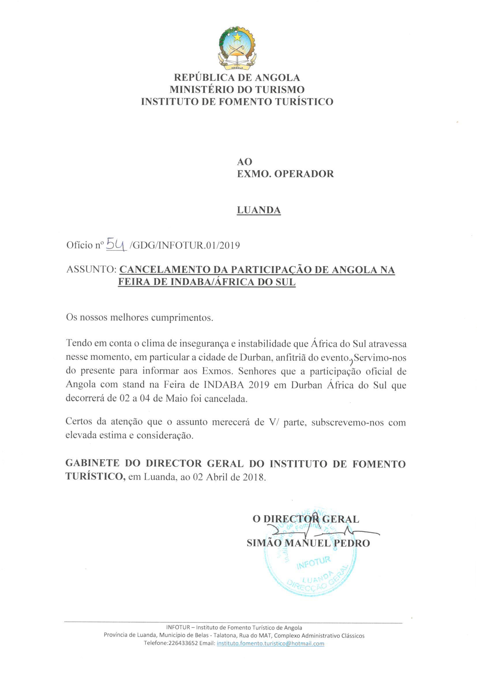 Angola cancela participação na feira de Indaba